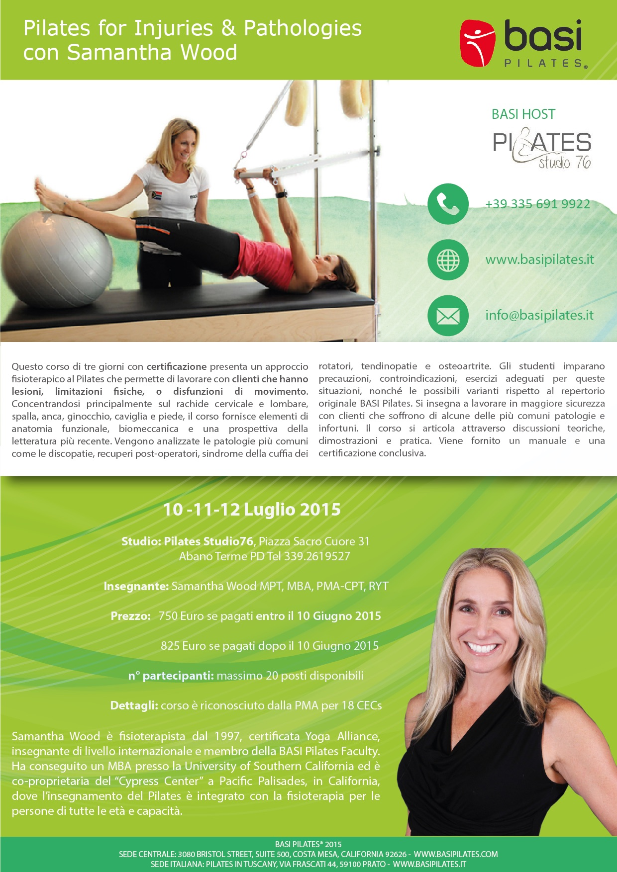 Pilates for injuries and pathologies