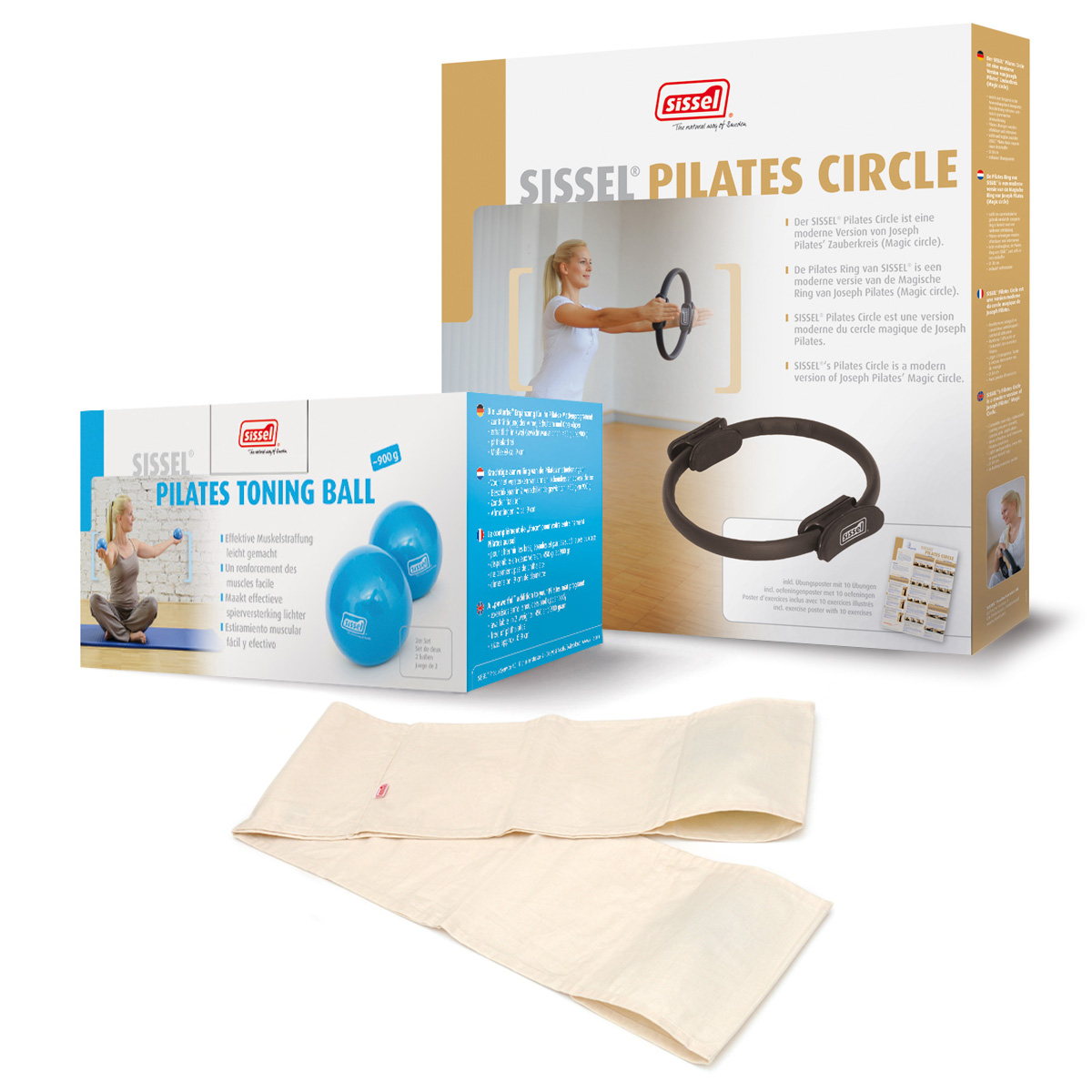 KIT PILATES CASA n°2: Toning Ball 450, Banda Elastica Bianca e Circle