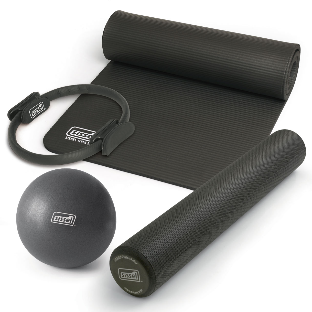 KIT PILATES CASA n°1 ANTRACITE: Circle, Soft Ball, Rullo e Materassino